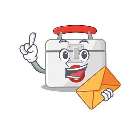 Cheerfully first aid kit mascot design with envelope