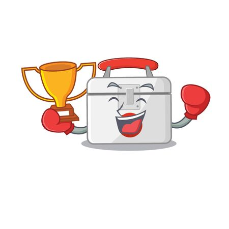 fantastic Boxing winner of first aid kit in mascot cartoon style