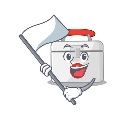 Funny first aid kit cartoon character style holding a standing flag