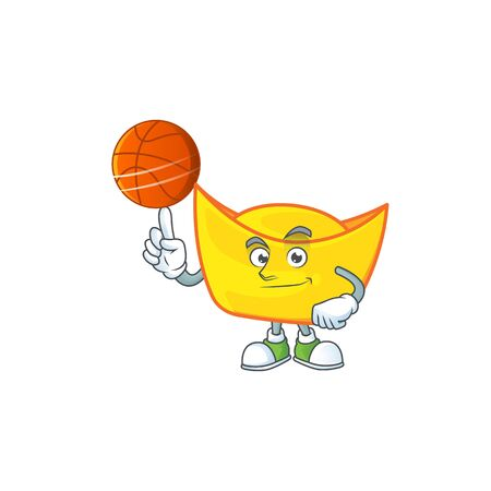 a Healthy chinese gold ingot cartoon character playing basketball. Vector illustration Illustration