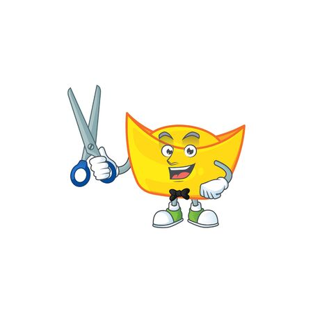 Cool friendly barber chinese gold ingot cartoon character style. Vector illustration