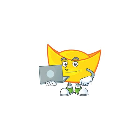 A clever chinese gold ingot mascot character working with laptop. Vector illustration