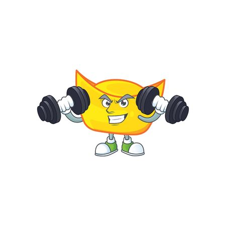 Fitness exercise chinese gold ingot mascot icon with barbells. Vector illustration