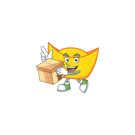 Cute chinese gold ingot cartoon character having a box. Vector illustration