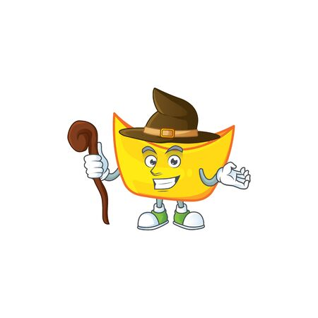 cartoon mascot style of chinese gold ingot dressed as a witch. Vector illustration