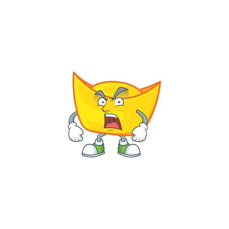 Chinese gold ingot cartoon character design having angry face. Vector illustration Illustration