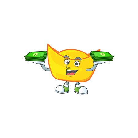 happy rich chinese gold ingot character with money on hands. Vector illustration Illusztráció