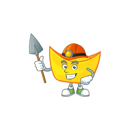 Cool clever Miner chinese gold ingot cartoon character design. Vector illustration