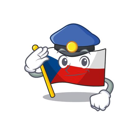Flag czechia Cartoon mascot performed as a Police officer
