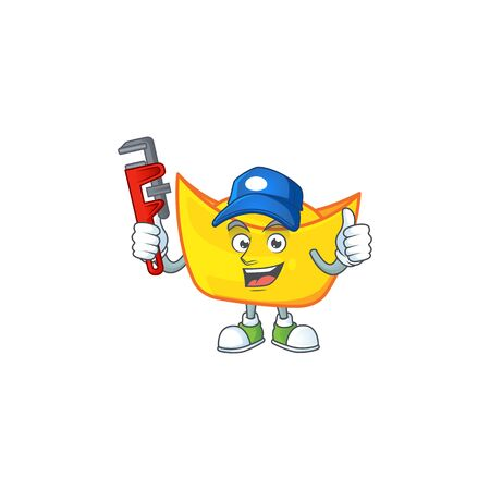 Cool Plumber chinese gold ingot on mascot picture style. Vector illustration