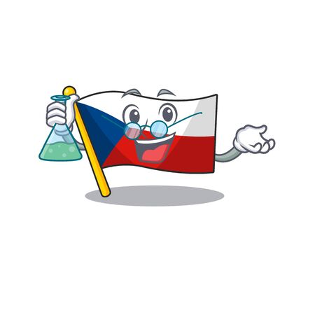 Smart Professor flag czechia cartoon character with glass tube Ilustração