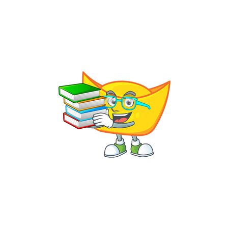 Cool and clever Student chinese gold ingot mascot cartoon with book. Vector illustration