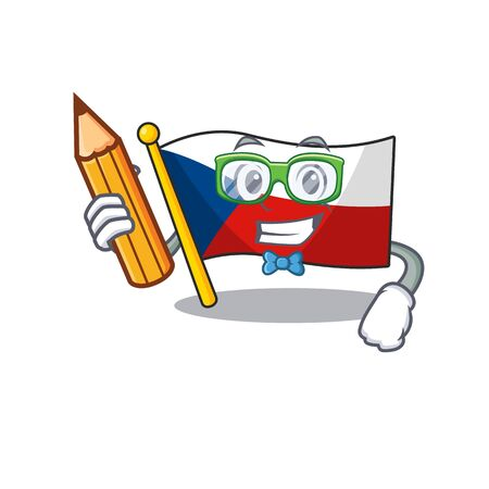 A picture of Student flag czechia character holding pencil  イラスト・ベクター素材
