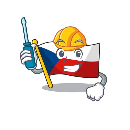 Cool automotive flag czechia in cartoon character style 矢量图像