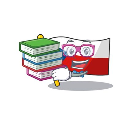 Cool and clever Student flag czechia mascot cartoon with book Çizim