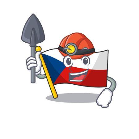 Cool clever Miner flag czechia cartoon character design Çizim