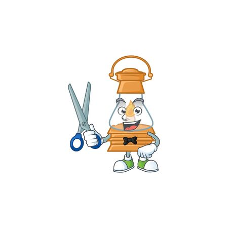 Cool friendly barber oil lamp cartoon character style. Vector illustration