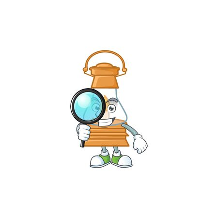 Smart One eye oil lamp Detective character style. Vector illustration