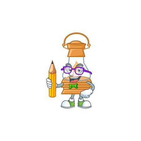 A picture of Student oil lamp character holding pencil. Vector illustration