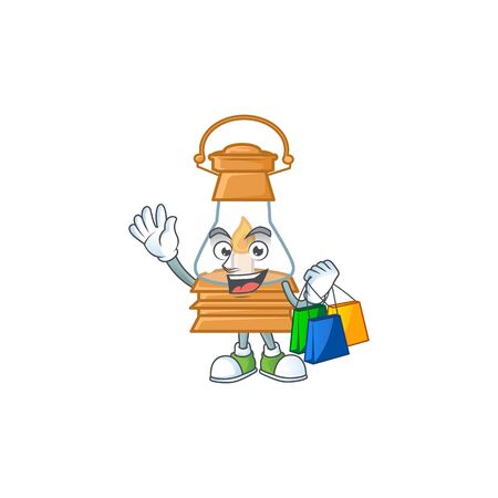 A happy rich oil lamp waving and holding Shopping bag. Vector illustration