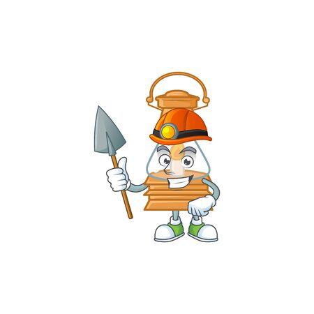 Cool clever Miner oil lamp cartoon character design. Vector illustration Çizim