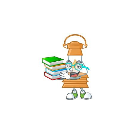 Cool and clever Student oil lamp mascot cartoon with book. Vector illustration Çizim