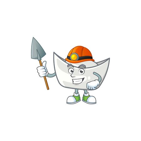 Cool clever Miner chinese silver ingot cartoon character design. Vector illustration