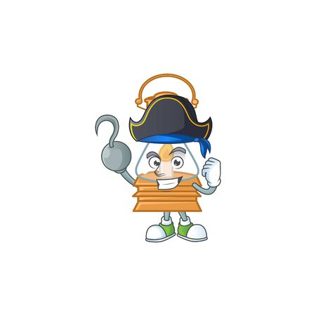 Cool one hand Pirate oil lamp cartoon character wearing hat. Vector illustration