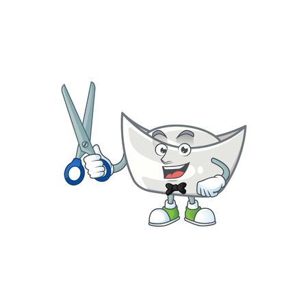 Cool friendly barber chinese silver ingot cartoon character style. Vector illustration