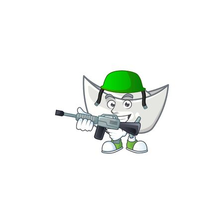 Chinese silver ingot carton character in an Army uniform with machine gun. Vector illustration