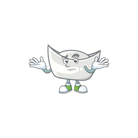 Super Funny Grinning chinese silver ingot mascot cartoon style. Vector illustration