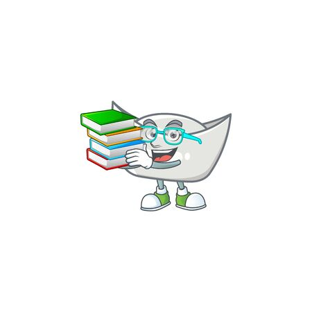 Cool and clever Student chinese silver ingot mascot cartoon with book. Vector illustration