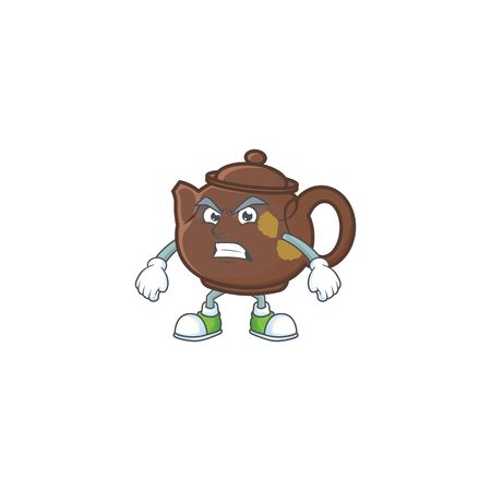 cartoon character of teapot with angry face. Vector illustration
