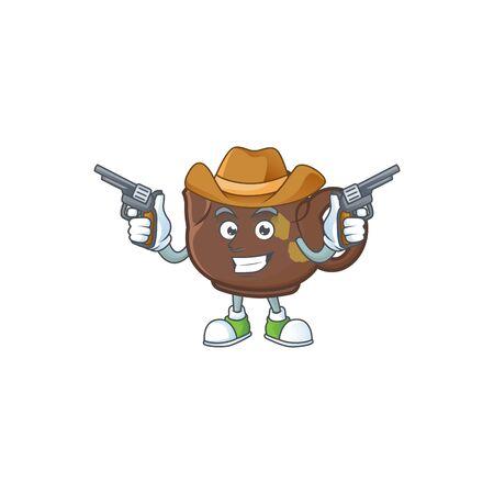 Confident teapot Cowboy cartoon character holding guns. Vector illustration Illustration