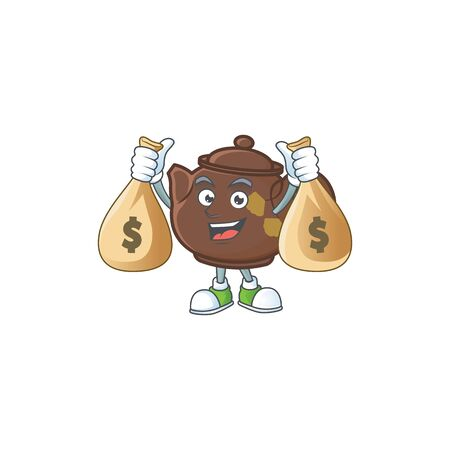 A picture of rich teapot cartoon character with two money bags. Vector illustration Illustration