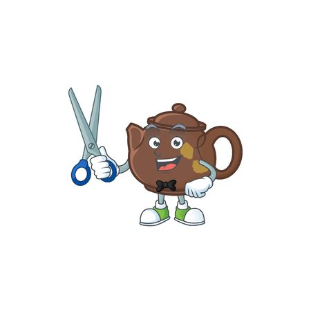 Cool friendly barber teapot cartoon character style. Vector illustration
