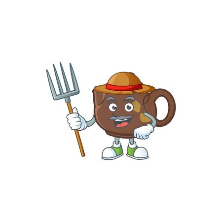 Cute Farmer teapot cartoon mascot with hat and tools. Vector illustration
