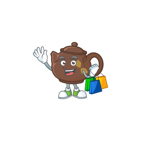 A happy rich teapot waving and holding Shopping bag. Vector illustration Vettoriali