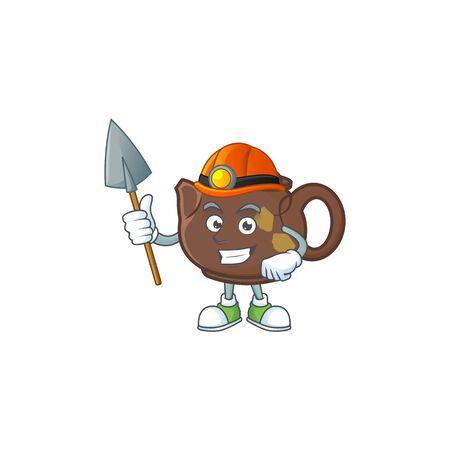 Cool clever Miner teapot cartoon character design. Vector illustration