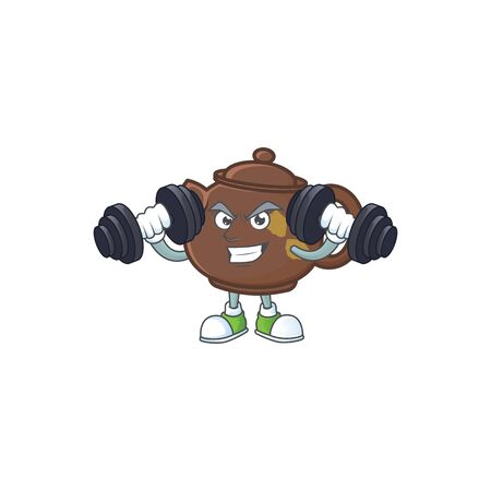 Fitness exercise teapot mascot icon with barbells. Vector illustration