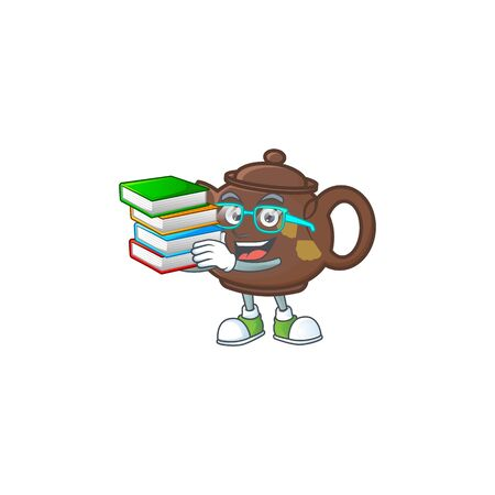 Cool and clever Student teapot mascot cartoon with book. Vector illustration