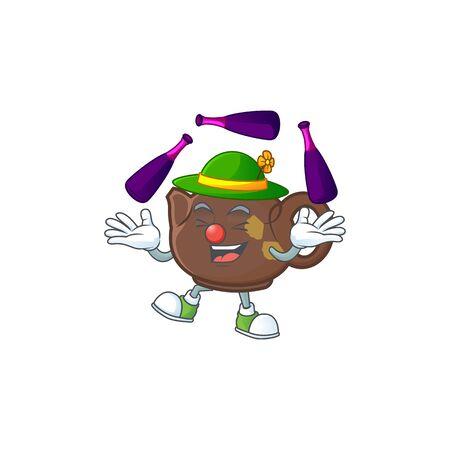 Smart teapot cartoon character design playing Juggling. Vector illustration Ilustração