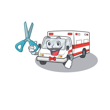 Smiley Funny Barber ambulance cartoon character design style. Vector illustration