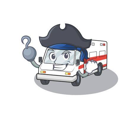 fresco y divertido estilo de dibujos animados de ambulancia con sombrero. Ilustración vectorial