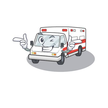 mascot cartoon design of ambulance with Wink eye. Vector illustration