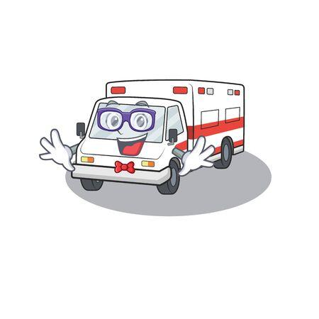 cartoon character of Geek the ambulance design. Vector illustration