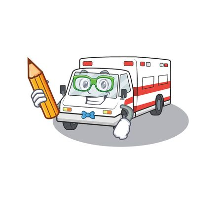 A picture of Student ambulance character holding pencil. Vector illustration