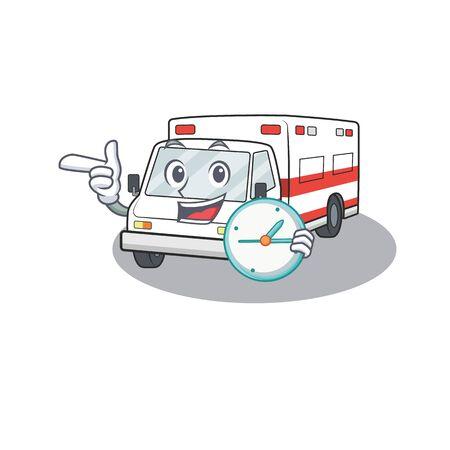 cartoon character style ambulance the having clock. Vector illustration