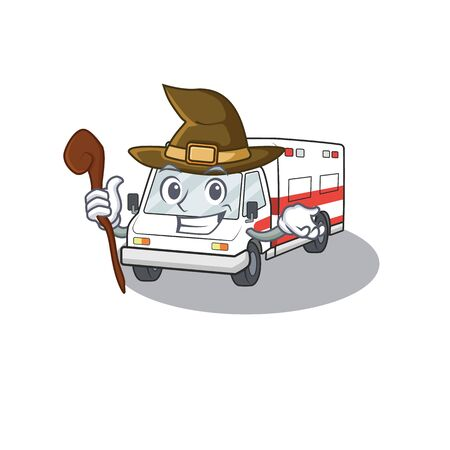 cartoon mascot style of ambulance dressed as a witch. Vector illustration