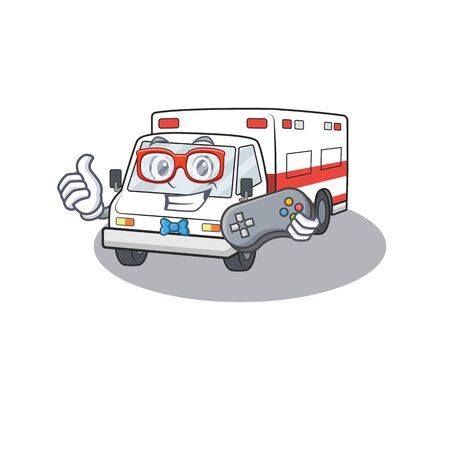 Smiley gamer ambulance with cartoon mascot style. Vector illustration